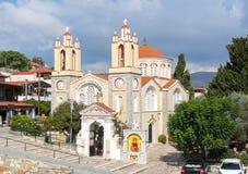 Igreja de St Panteleimon em Siana, ilha do Rodes, Grécia fotografia de stock