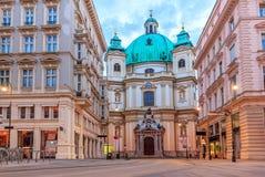 A igreja de St Peter em Viena, Áustria, nenhum pessoa imagens de stock