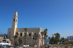 A igreja de St Peter, uma igreja Franciscan em Jaffa velho, Tel Aviv, Israel foto de stock royalty free