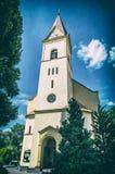 Igreja de St Stephen em Trencianske Teplice, filtro análogo fotografia de stock royalty free