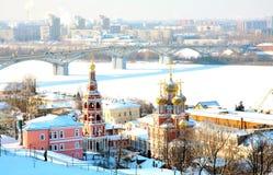 Igreja de Stroganov e catedral Alexander Nevsky Fotos de Stock Royalty Free