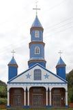 Igreja de Tenaun, ilha de Chiloe, o Chile fotos de stock