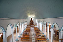 Igreja de Tenaun, ilha de Chiloe, o Chile imagens de stock