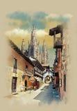 Igreja de Tibidabo na estátua da montanha de Cristo, ruas velhas em Barcelona, Espanha ilustração do vetor