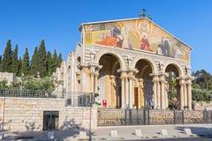 A igreja de todas as nações, o Monte das Oliveiras, Jerusalém, Israel, Médio Oriente imagem de stock royalty free