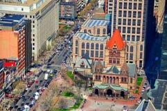 Igreja de trindade com tráfego de Boston Foto de Stock Royalty Free