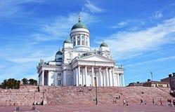 A igreja de Tuomiokirkko (catedral de Helsínquia) Imagem de Stock