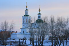 A igreja de Voznesensko-Georgievsky na cidade de Tyumen, russo Sibéria Fotos de Stock Royalty Free