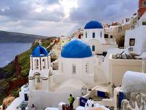 Igreja do azul de Oia Fotos de Stock