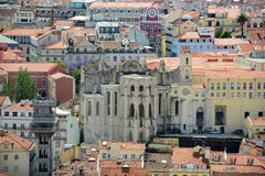 Igreja do Carmo and Baixa district, Lisbon, Portugal Stock Image