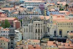 Igreja do Carmo and Baixa district, Lisbon, Portugal. Igreja do Carmo and Historical Baixa district from Castle of São Jorge (Castelo de São Jorge) in Lisbon Stock Image