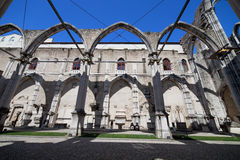 Igreja do Carmo Church Ruins in Lisbon. Lisbon, Portugal, ruins of the 14th-15th century Gothic church Igreja do Carmo, damaged by the earthquake in 1755 Royalty Free Stock Image