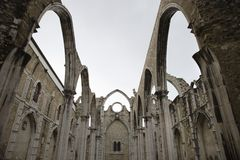 Igreja do Carmo ruins in Lisbon, Portugal. Stock Image