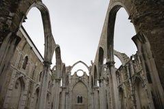 Igreja do Carmo ruins in Lisbon, Portugal. Open roof of Igreja do Carmo ruins in Lisbon, Portugal Stock Image