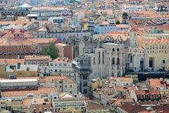 Igreja do Carmo and Santa Justa Elevator, Lisbon Royalty Free Stock Photo