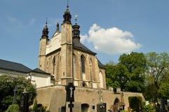Igreja do cemitério de Sedlec do Ossuary de todos os Saint em Kutna Hora, República Checa Fotografia de Stock