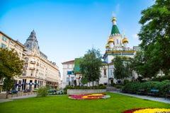 A igreja do russo no centro da cidade de Sófia Foto de Stock