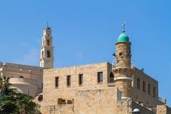 Igreja do ` s de St Peter, mesquita do al-Bahr em Jaffa velho, Israel imagens de stock royalty free
