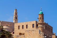 Igreja do ` s de St Peter, mesquita do al-Bahr em Jaffa velho, Israel foto de stock royalty free