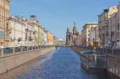 A igreja do salvador no sangue derramado em St Petersburg, Rússia Fotografia de Stock