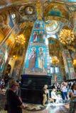 Igreja do salvador no sangue derramado Fresco magníficos de Fotografia de Stock Royalty Free