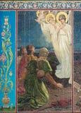 Igreja do salvador no sangue derramado imagem do anjo em uma parede Fotografia de Stock