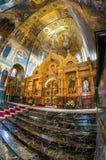 Igreja do salvador no sangue derramado O iconostasis central Imagem de Stock
