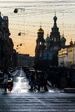 Igreja do salvador no sangue, a noite branca em St Petersburg Fotografia de Stock Royalty Free