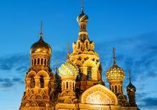Igreja do salvador no sangue Spilled na noite em St Petersburg Imagens de Stock