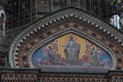 Igreja do sangue em St Petersburg no feriado no verão foto de stock royalty free