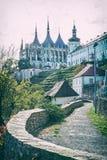 Igreja do St Barbara, Kutna Hora, filtro checo, análogo fotografia de stock