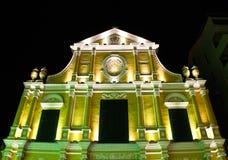 Igreja do St. Dominic em Macau na noite. fotos de stock