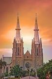 Igreja e céu dourado Imagem de Stock Royalty Free