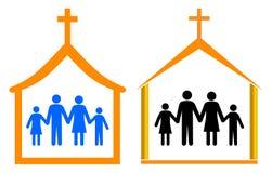 Igreja e família Fotos de Stock