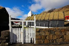 Igreja em Ilhas Faroé Foto de Stock Royalty Free
