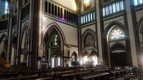 Igreja em Myanmar com bancos Fotografia de Stock