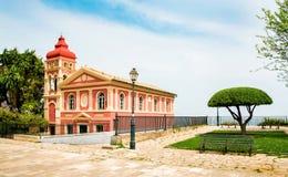 Igreja encantador da vista do Virgin Mary Mandrakina - Kerkyra, Corfu, imagem de stock