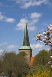 Igreja evangélica do St Laurentius em Schledehausen, país de Osnabrueck, Baixa Saxónia, Alemanha (igreja protestante) Foto de Stock Royalty Free
