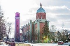 Igreja evangélica nova no luminoso, Kezmarok, Eslováquia Imagem de Stock Royalty Free