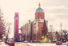Igreja evangélica nova no luminoso, Kezmarok, filtro retro Imagens de Stock