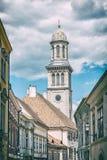 Igreja evangélica, Sopron, filtro análogo fotos de stock royalty free