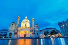 Igreja famosa do ` s de St Charles em Karlsplatz em Viena, Áustria fotos de stock royalty free