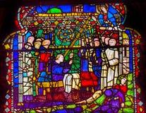 Igreja Florença de Mary Priests Stained Glass Window Orsanmichele mim imagens de stock royalty free