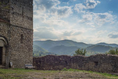 Igreja fortificada medieval da alvenaria de pedra Foto de Stock Royalty Free