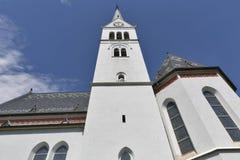Igreja gótico neo de St Martin no lago Bled, Eslovênia imagem de stock
