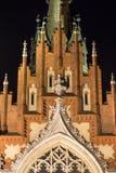 Igreja gótico no mercado de Podgorski, foto do ` s de St Joseph do estilo da noite, Krakow, Polônia fotografia de stock royalty free