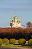 Igreja grande do palácio O palácio de verão no outono Peterhof Rússia Imagem de Stock Royalty Free