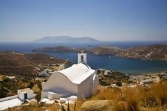 Igreja grega do console do Ios, Greece Fotografia de Stock Royalty Free