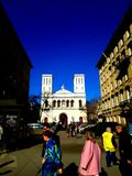 A igreja luterana de St Peter e de Saint Paul na luz do sol St Petersburg imagens de stock royalty free