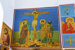 Igreja Madaba Jordânia do ` s de Jesus Crucifixion Frescos Saint George imagem de stock royalty free